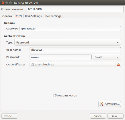 VPN σε Ubuntu - screenshot 1